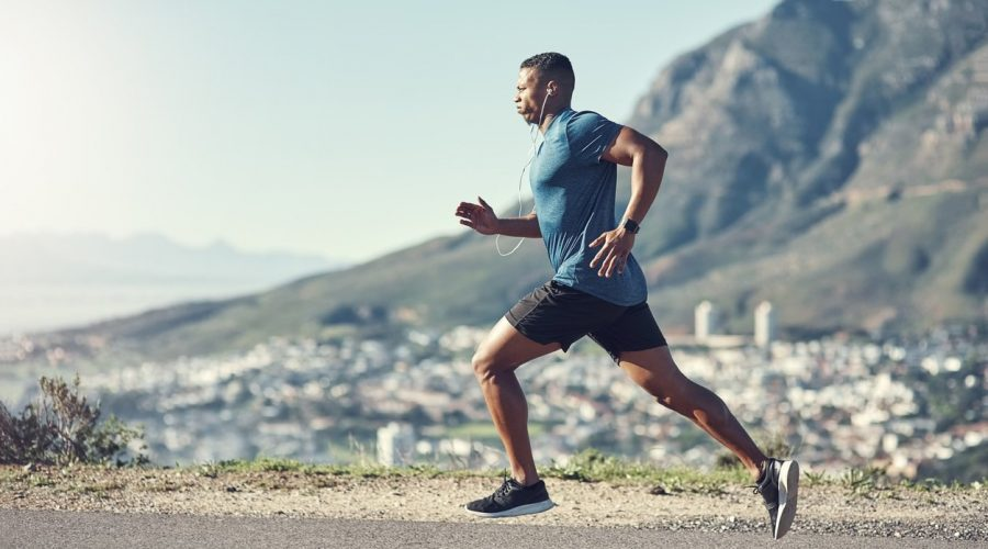 man running as a part of his fitness regime